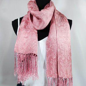 Pink lightweight multi pattern tassel scarf
